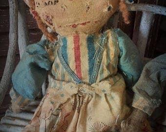 MUSTARD SEED ORIGINALS, Beach, Shore, Raggedy Ann, Primitive, Very Primitive, Doll by Sharon Stevens