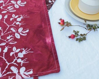 maroon rosehips red cotton tea towel
