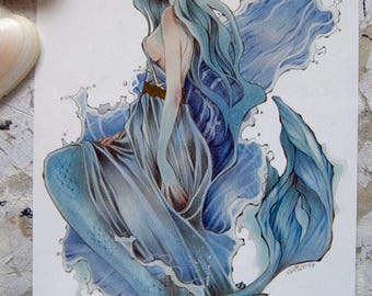 Postcard - Large - Art Card - Fairy Tale - Mermaid Art - Mermay - Siren - Sea - Anime - Traditional Art - Aquamarine