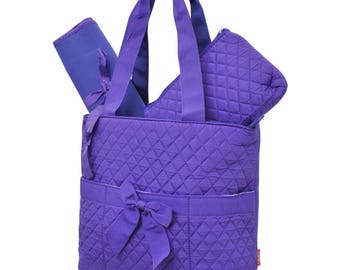 Purple Diaper Bag - Quilted Diaper Bag - Personalized Diaper Bag - Monogram Diaper Bag - Girl Diaper Bag - Baby Shower - Embroidery