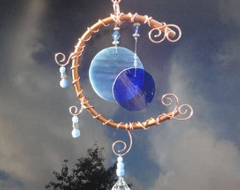 Blue Moon, Stained Glass Wind Chime, Home Decor, Garden Art Decor, Full Moon, Celestial, Mobile, Window Hanging, Porch Hanging, Sculpture