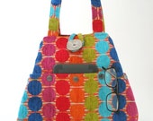 womens handbags, fabric tote bags, hobo bag, polka dot purse, shoulder bag, shoulder handbag, tote with pockets, gift for her, ready to ship