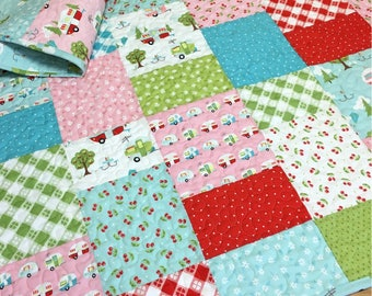 Baby Girl Quilt Glamper-Licious Campers Picnic Nursery Bedding Crib Bedding