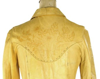 RARE 60s Tooled Leather Shirt Vintage Handmade Buckskin Western Hippie Boho Rocker Cowboy Rockabilly Women's Jacket Extra Small