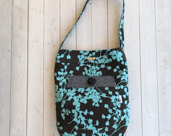 SALE- Floral Bucket Bag Large Tote Project Tote Casual Bag Shoulder Bag Black and Blue Carry All Bag Gift For Her Everyday Bag