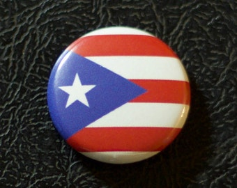 "1"" Puerto Rico flag button, territory, pin, badge, pinback"