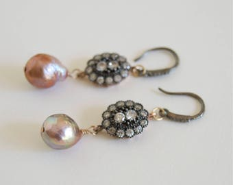 Pink Baroque Pearl Earrings Edison Pearl Diamond Pearl Earrings High Luster Pearl Pink Pearl Bridal Earrings Black Diamond Dangle