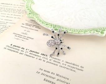 Spider Brooch.Black Spider Brooch.Black White Rhinestone Spider Brooch.Crystal.Spider Pin.Small Spider Brooch.Halloween.Goth.Art Deco Style