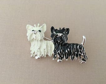 Shih Tzu Brooch.Shih Tzu Pin. Shih Tzu Broach.Dog brooch.Puppy.Black Shih Tzu.2 dogs.White Shih Tzu.Ivory Shih Tzu.pair of dogs.two.friends