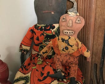Primitive Halloween Witch & Jack ready to ship
