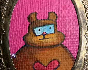 Original Painting of a Robot Bear with a pink heart in acrylic on canvas paper in a vintage silver embossed frame with black velvet backing