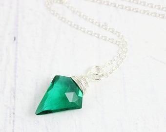 Dark Green Necklace, Quartz Gemstone Necklace, Wire Wrap Necklace, Unique Pendant Necklace, Emerald Green, Sterling Silver Necklace