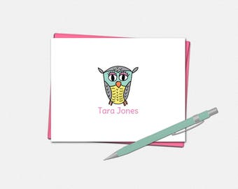 Personalized Owl Note Cards - Set of 10 - Folded Note Card - Gifts for Women - Owl Note Card - Owl Gifts - Cute Note Cards - Owl Notes