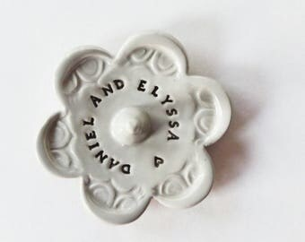 Ring Holder - Stamped with Your Personalized message - Custom Message, Ceramic Pottery, Takes 2 weeks to Produce