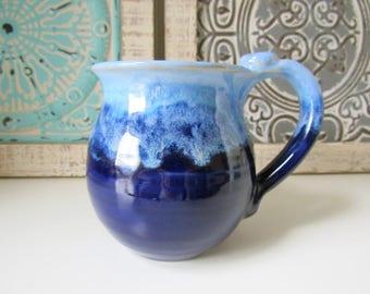 Coffee Cup, Light and Dark Blue Mug, 14 oz, Ready to Ship