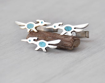 Vintage Roadrunner Cufflinks Pin Set - sterling silver turquoise inlay cuff links tie tack - Southwestern running birds