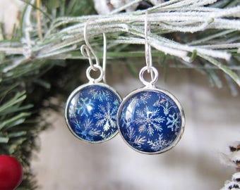 Snow Flurries - Cobalt Blue Snowflake Earrings with Shimmer