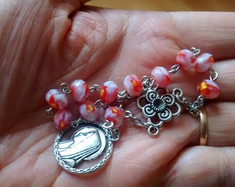 Handmade Rosary Decade in pale pink/yellow/cream glass beads