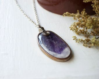 Amethyst Wrapped Pendant - Wire Wrapped Geode Slice - Amethyst Crystal Pendant