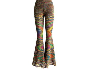 Made to Order - Mesh Bell Bottoms in Double Rainbow - Handmade Crochet Cotton Lace Pants / Flared Leggings - Free US Shipping