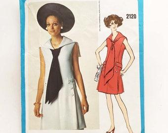 Vintage 60s Vogue Americana Sewing Pattern Teal Traina Dress A Line 34 Bust Vogue 2120 Sailor Dress
