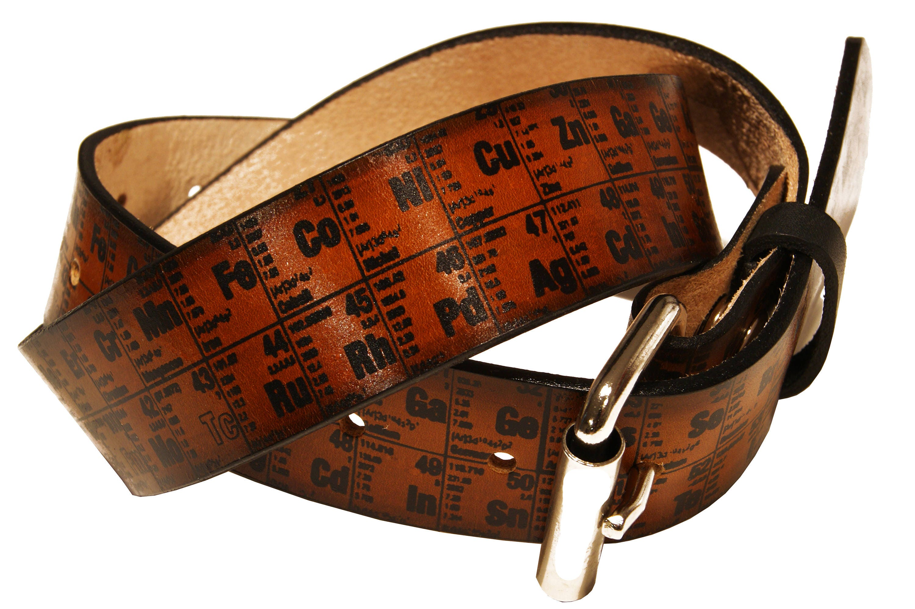 Periodic table of elements leather belt details project transaction is the home of the original periodic table belt gamestrikefo Gallery