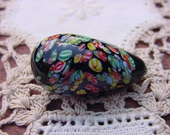 Jet Black XLG Vintage Millefiori Glass Focal Bead Drop