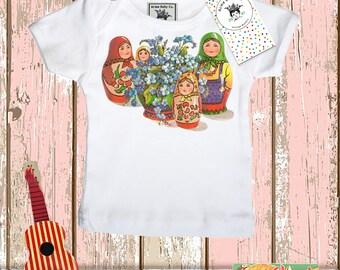 Matrioskas Shirt, Russian Doll Shirt, Matryoshka Shirt, Matryoshkas Top, Matrioska Shirt, Baby Gift, Infant Shirt, Shower Gift, layette