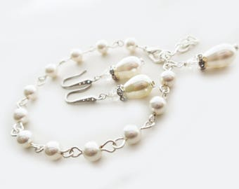 Art Deco Bridal Set One Strand Bracelet Pearl and Zircon Drop Earrings White Ivory Cream Drop Pearl Classic Jewelry Set Sterling Silver