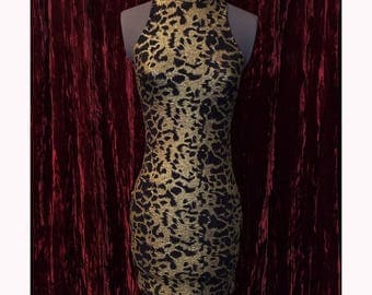 80's Club Girl, Sexy Metallic Gold Black Leopard Cheetah Mini Dress Body Con, XS Small