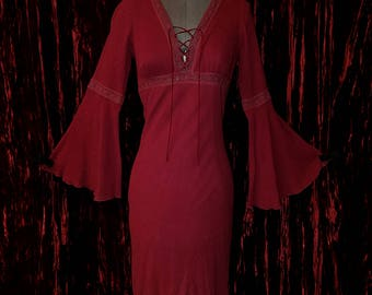 Vintage Burgundy Bell Sleeve Dress, Size Small BOHO Bohemian Hippie