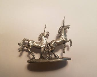 Vintage 80's Pewter Leaping Unicorns Statue 1984 Partha