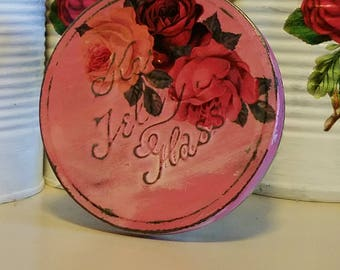 SALVAGED glass upcycled altered art angel base vintage kerr jelly glass jar shabby chic dark pink roses tin lid cottage repurposed recycled