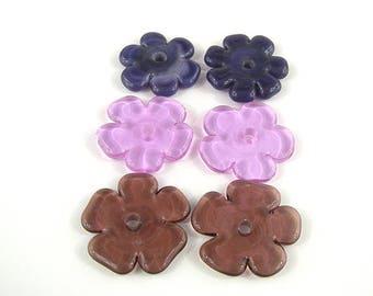 SRA Artisan Nature Themed Lampwork Beads set of six handmade glass flower petal discs patty lakinsmith
