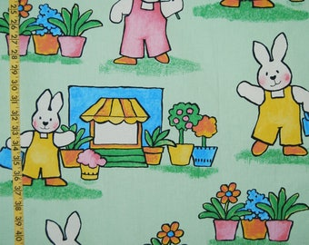 Vintage fabric BABY bunny nursery upholstery fabric rabbit bunny Mansion Textiles made in England