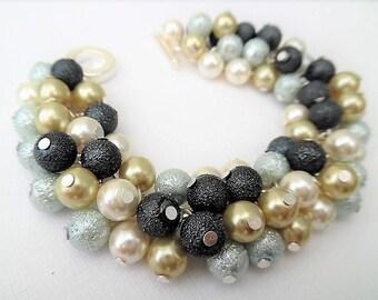 Pearl Bracelet, Cluster Bracelet, Chunky Bracelet, Blue Jewelry, Gift For Her, Blue Bracelet, Baby Blue Pale Gold Ivory Slate, Ready to Ship