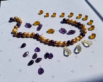 OOAK Mix Assortement of Beads Purple and Yellow