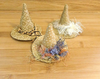 Primitive Gold Witch Hats Ornaments Bowl Fillers Halloween Decorations