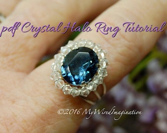 Crystal Halo Ring Tutorial, Wire Wrapping Ring Tutorial, PDF Ring pattern, How to Make a Princess Kate Ring, Step by Step Instructions,