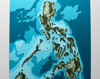 "The Philippines w/ topography - 8 x 10"" layered papercut art"