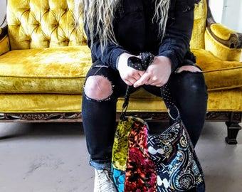 Big velvet and tapestry boho bag / crossbody bag / carpet bag
