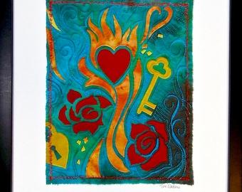 Heart/Roses/Key - hand dyed fiber art