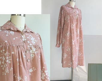Pink Maxi Dress, Long Floral Dress, Japanese clothing, Long Sleeve Floral dress, Pink Sleepwear floral, Flowers Print Dress, Long Dresses, M
