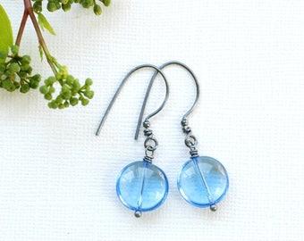 Sky Blue Earrings, Pastel Blue Earrings, Something Blue, Blue Wedding, Summer Earrings, Secret Garden, Bridesmaid Earrings, Oxidized Silver