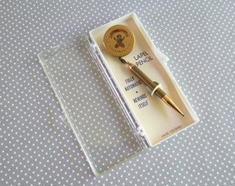 Vintage Retro Retractable Bowling Pencil Brooch