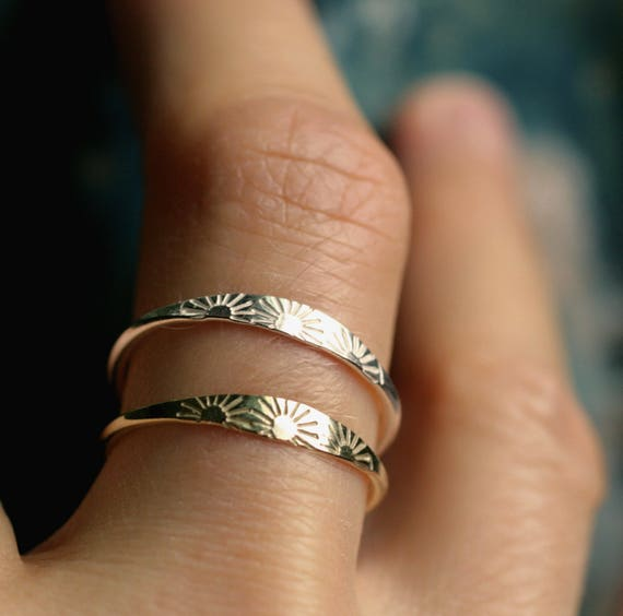 sun ring solid gold ring sterling silver ring dainty gold ring