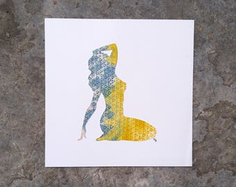 Original Hand-Cut Watercolor Silhouette - This Is Just How I Sit Sometimes - 12x12