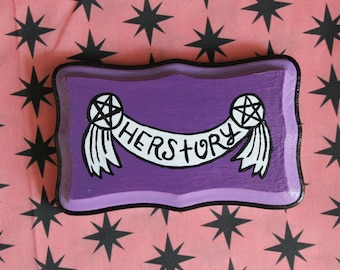 Herstory Handpainted Plaque//Purple