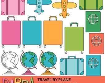 Travel clipart - travelling clip art - Travel by plane cute clipart - luggage, suitcase, globe, passport - commercial use planner clip art