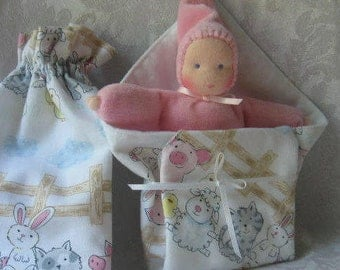 Waldorf Pocket Doll, Bunting Doll,Doll Carrier,Doll Blanket,Gnome Doll ,Small Dolls,6 inch Doll, Waldorf Toys,Handmade Toys, Gift for Child